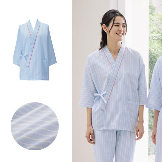 285-98 ストライプ患者衣(甚平型)